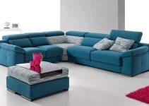 Sofá rinconera grande con acabados azules