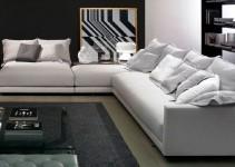 Sofá rinconera modular tapizado con tela