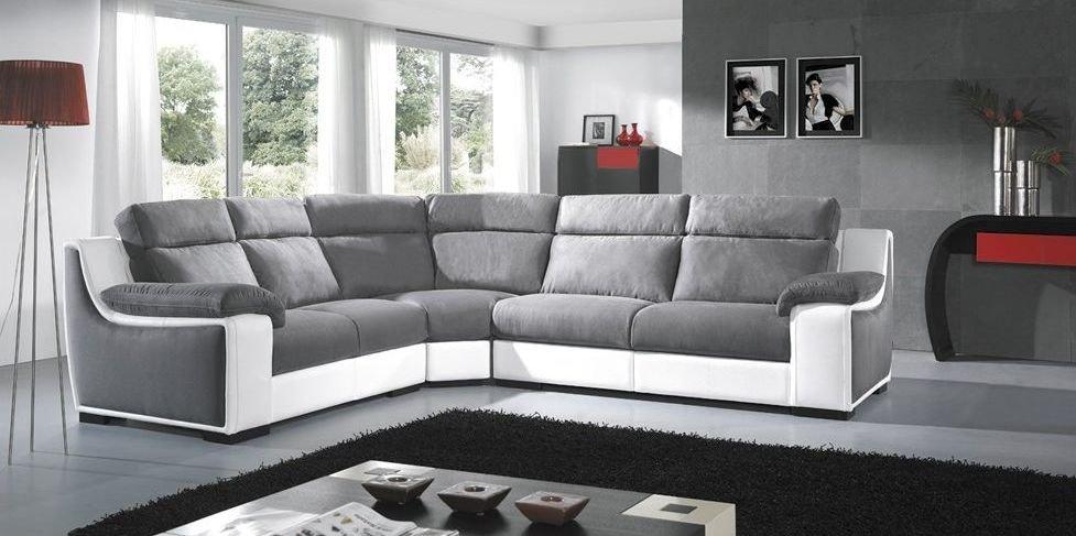 Sofá rinconera modular gris y blanco