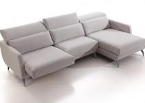 Sofá rinconera modular tapizado en gris
