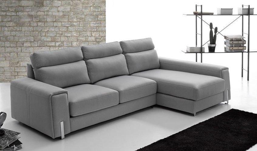Sofá tapizado en piel Chaise Longue
